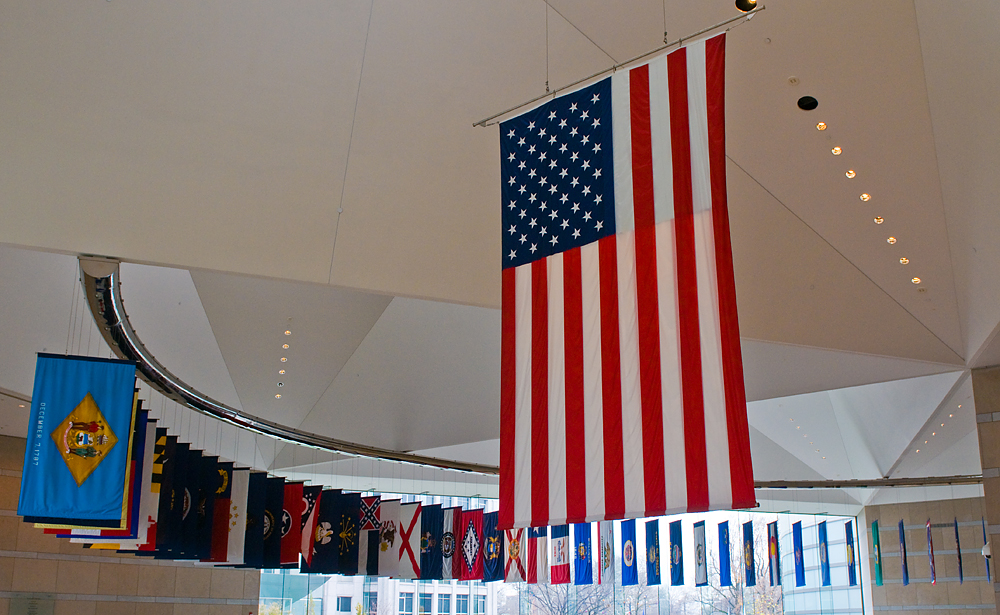 Flags at the National Constitution Center in Downtown Philly
